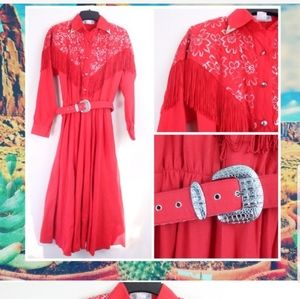 VINTAGE LILIA SMITTY RED FRINGED COWGIRL DRESS
